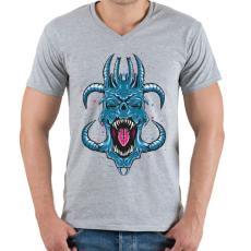 PRINTFASHION Kék ördög - Férfi V-nyakú póló - Sport szürke