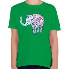 PRINTFASHION Kék virágos elefánt - Gyerek póló - Zöld