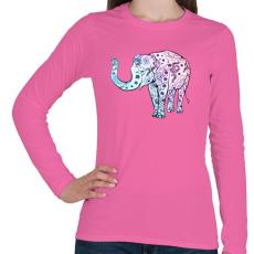 PRINTFASHION Kék virágos elefánt - Női hosszú ujjú póló - Rózsaszín