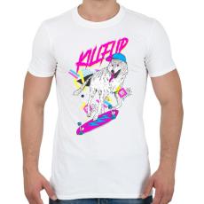 PRINTFASHION Kickflip wolf - Férfi póló - Fehér