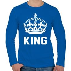 PRINTFASHION KING - Férfi hosszú ujjú póló - Királykék