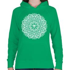 PRINTFASHION Koponyás mandala - Női kapucnis pulóver - Zöld