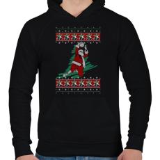PRINTFASHION Kosaras karácsony - Férfi kapucnis pulóver - Fekete