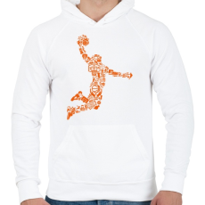 PRINTFASHION Kosárlabda játékos - Férfi kapucnis pulóver - Fehér