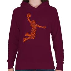 PRINTFASHION Kosárlabda játékos - Női kapucnis pulóver - Bordó
