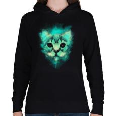 PRINTFASHION Kozmosz macska - Női kapucnis pulóver - Fekete