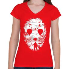 PRINTFASHION Kristálytó - Női V-nyakú póló - Piros