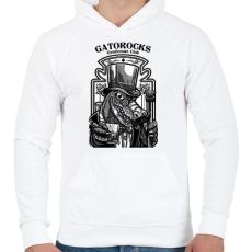 PRINTFASHION Krokorock - Férfi kapucnis pulóver - Fehér