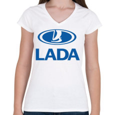 PRINTFASHION Lada - Női V-nyakú póló - Fehér
