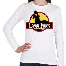 PRINTFASHION Lama Park - Női hosszú ujjú póló - Fehér