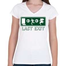 PRINTFASHION last-exit - Női V-nyakú póló - Fehér