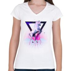 PRINTFASHION Last laser unicorn - Női V-nyakú póló - Fehér