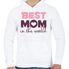 PRINTFASHION Legjobb Anyuka a világon - Férfi kapucnis pulóver - Fehér