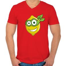 PRINTFASHION Lemon Hero - Férfi V-nyakú póló - Piros