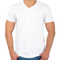 PRINTFASHION level-complete-10-white - Férfi V-nyakú póló - Fehér