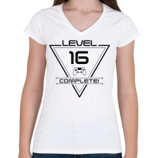PRINTFASHION level-complete-16-black - Női V-nyakú póló - Fehér
