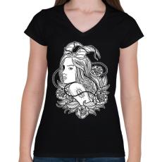 PRINTFASHION Lidérc - Női V-nyakú póló - Fekete