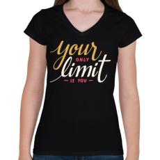 PRINTFASHION Limit - Női V-nyakú póló - Fekete