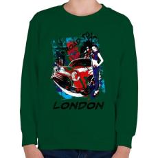 PRINTFASHION London utjain - Gyerek pulóver - Sötétzöld