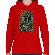 PRINTFASHION Lovas - Női kapucnis pulóver - Piros