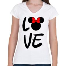 PRINTFASHION Love Minnie - Női V-nyakú póló - Fehér