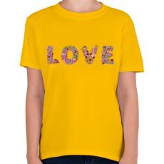 PRINTFASHION LOVE virág - Gyerek póló - Sárga
