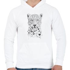 PRINTFASHION Lovely leopard - Férfi kapucnis pulóver - Fehér