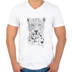 PRINTFASHION Lovely leopard - Férfi V-nyakú póló - Fehér