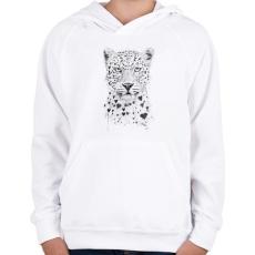 PRINTFASHION Lovely leopard - Gyerek kapucnis pulóver - Fehér