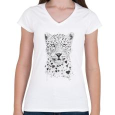 PRINTFASHION Lovely leopard - Női V-nyakú póló - Fehér