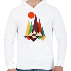 PRINTFASHION macika - Férfi kapucnis pulóver - Fehér