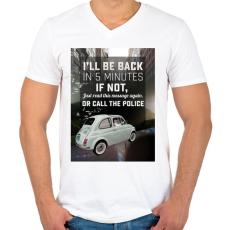 PRINTFASHION Macska az autóban - Férfi V-nyakú póló - Fehér