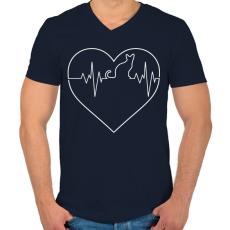 PRINTFASHION Macska életjel - Férfi V-nyakú póló - Sötétkék