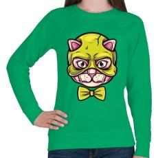 PRINTFASHION Macskamaszk - Női pulóver - Zöld