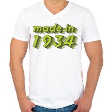 PRINTFASHION made-in-1934-green-grey - Férfi V-nyakú póló - Fehér