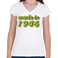 PRINTFASHION made-in-1946-green-grey - Női V-nyakú póló - Fehér