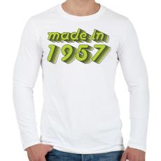 PRINTFASHION made-in-1957-green-grey - Férfi hosszú ujjú póló - Fehér
