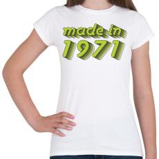 PRINTFASHION made-in-1971-green-grey - Női póló - Fehér