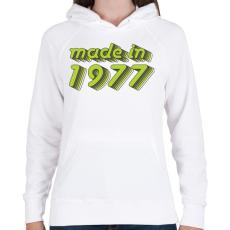 PRINTFASHION made-in-1977-green-grey - Női kapucnis pulóver - Fehér