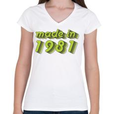 PRINTFASHION made-in-1981-green-grey - Női V-nyakú póló - Fehér