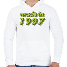 PRINTFASHION made-in-1997-green-grey - Férfi kapucnis pulóver - Fehér