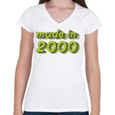 PRINTFASHION made-in-2000-green-grey - Női V-nyakú póló - Fehér