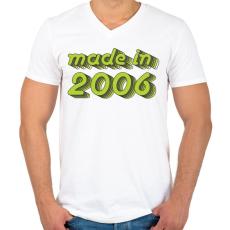 PRINTFASHION made-in-2006-green-grey - Férfi V-nyakú póló - Fehér