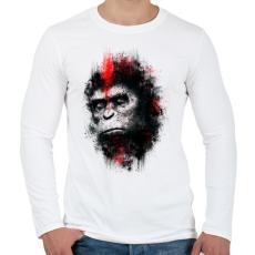 PRINTFASHION Majmok bolygója - Férfi hosszú ujjú póló - Fehér
