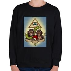 PRINTFASHION Majmok - Gyerek pulóver - Fekete