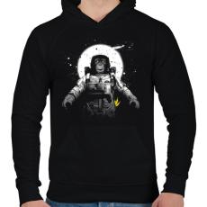 PRINTFASHION Majom az űrben - Férfi kapucnis pulóver - Fekete