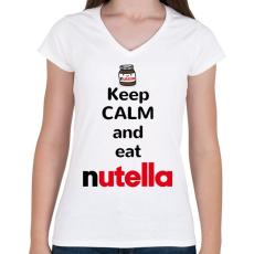 PRINTFASHION Maradj nyugodt és egyél nutellát - Női V-nyakú póló - Fehér