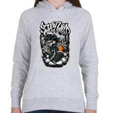 PRINTFASHION Maradj vad - Női kapucnis pulóver - Sport szürke