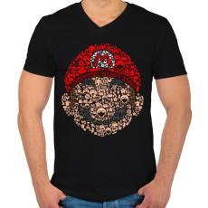 PRINTFASHION Mario - Férfi V-nyakú póló - Fekete