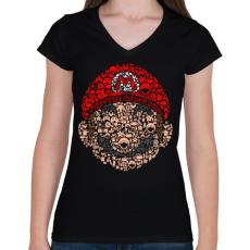 PRINTFASHION Mario - Női V-nyakú póló - Fekete